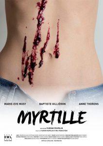 L'une des deux affiches du film Myrtille sur laquelle on voit le ventre de Marie-Eve Musy avec des traces de confiture.
