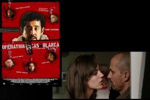 L'affiche du film Opération Casablanca à gauche et la capture d'écran d'une scène entre Marie-Eve Musy et Antoine Basler à droite.